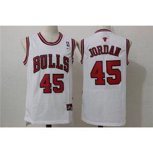 Chicago Bulls Michael Jordan 45 White Jersey